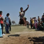 Students in action during Sports Meet