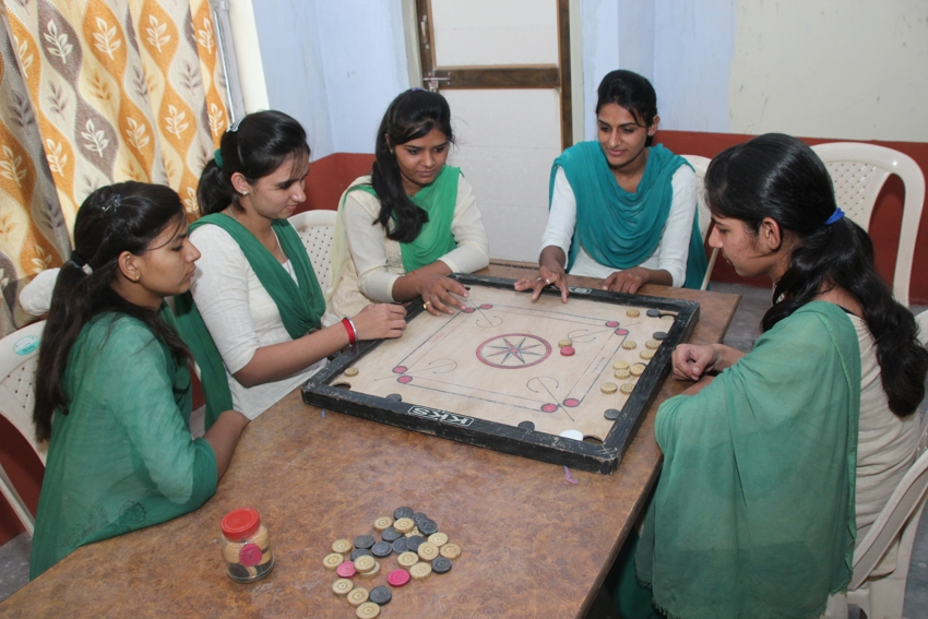 Girls students in leisure mood at Girls Common Room